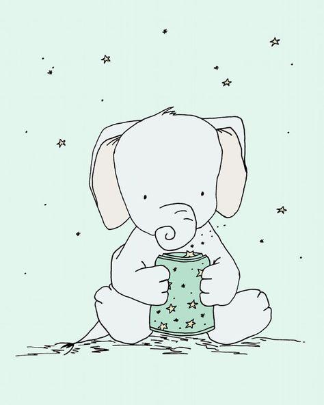 Elephant Nursery Art -- Elephant Star Jar -- Nursery Decor -- Elephant Art, Children Art Print, Kids Wall Art, Elephant Decor