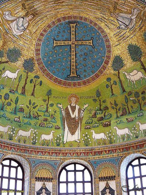 The Basilica of Sant' Apollinare in Classe is an important monument of Byzantine art near Ravenna, Italy ~  Ravenna Romagna Italy ~ mosaics