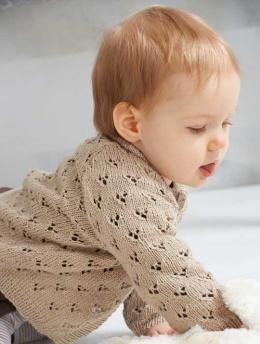 long-sleeved baby cardigan lace free knitting pattern | Baby ...