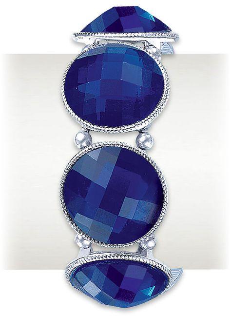 Sapphire Glitter Stretch Bracelet at http://www.AmeriMark.com. #bluebracelet #ladiesbracelet #womensbracelet