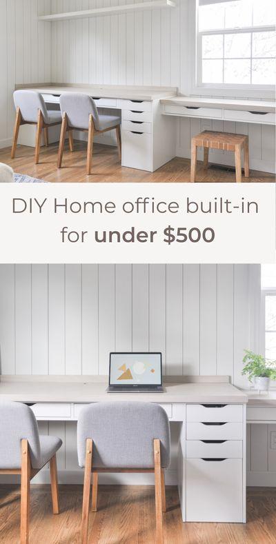 Home Office Desk Built In With Ikea Alex Drawer Hack Hydrangea Treehouse In 2020 Ikea Alex Desk Alex Desk Ikea Alex