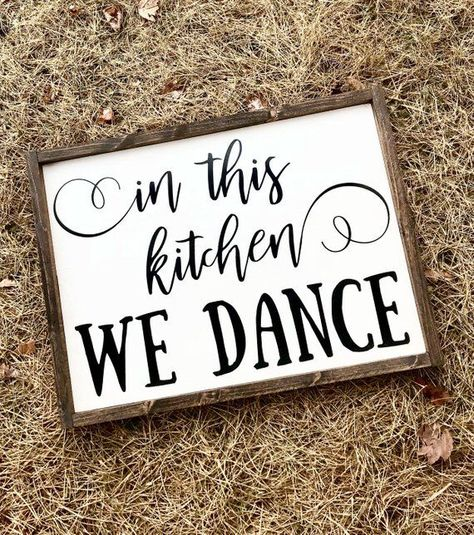 In this kitchen we dance sign | wood wall decor | kitchen decor | gifts for her |rustic country home decor | farmhouse style | framed sign |