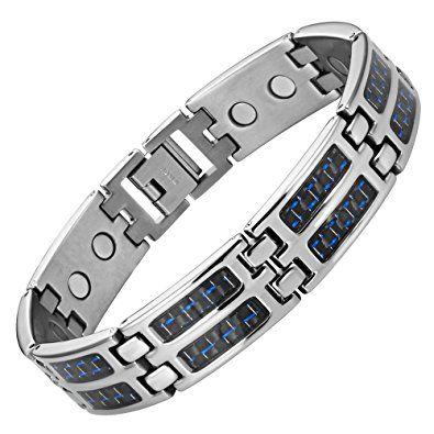 c7d97c57ad746 Blue Carbon Fiber Titanium Magnetic Bracelet Double Strength ...