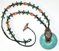 Turqoise and Copper Macrame Necklace Beading Pattern by Deb Moffett-Hall aka Patterns to Bead