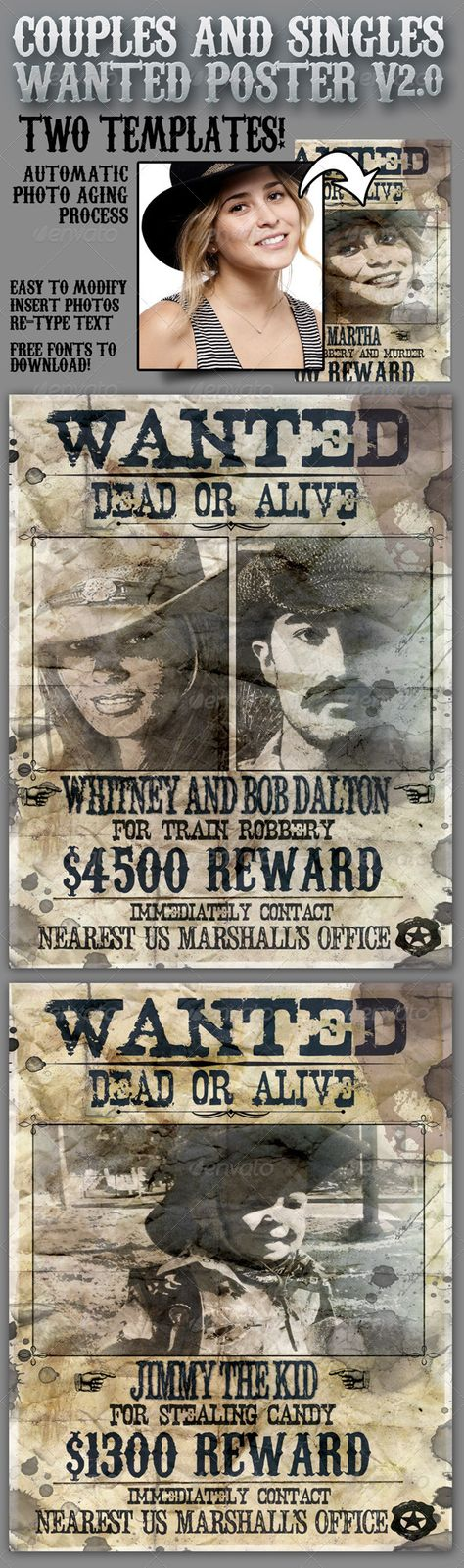 Wanted Poster 85x11 for Singles and Couples V20 - free wanted poster template download