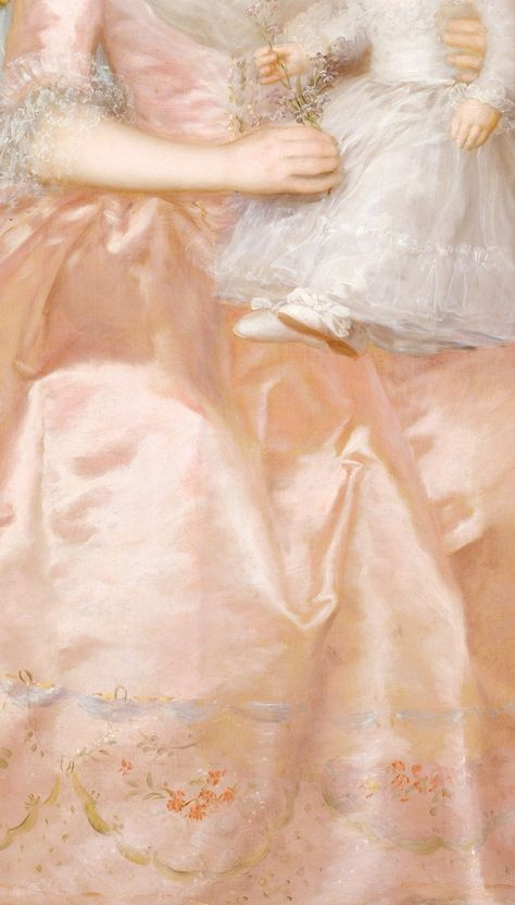 a-l-ancien-regime: Condesa de Altamira and Her Daughter, María Agustina, detail Goya ) Goya's brilliant treatment of the countess' gown, with its shimmering embroidered silk, attests to his mastery of technique (more…) © The Metropolitan Museum of Art Francisco Goya, Art Ballet, Ciel Rose, Reign, Shades Of Peach, Peach Blush, Peach Gown, Peach Orange, Just Peachy