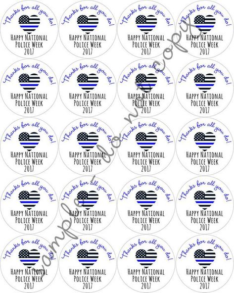 Items similar to INSTANT DOWNLOAD Police Appreciation Week Law Enforcement Support Printable Digital File DIY Stickers, Labels, Cupcake Toppers on Etsy