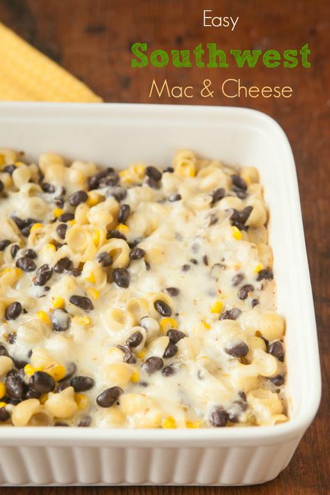 This semi-homemade mac & cheese starts with a box of the organic stuff and is doctored up with black beans, corn, chiles, sour cream, and pepper jack cheese.  Easy and delicious! pinchmysalt.com