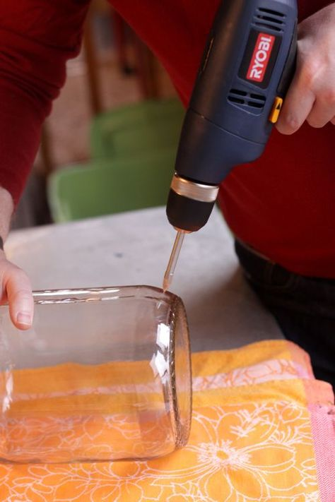 How to drill a hole in a jar and put lights in it.--Good to know for those wine bottles