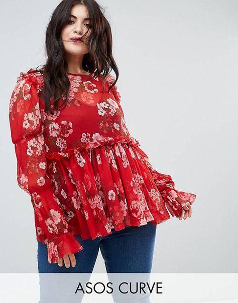 Blusa Amplia Con Estampado Floral Rojo Y Volante De Asos Curve Ropa Para Curvas Moda Para Curvas Ropa