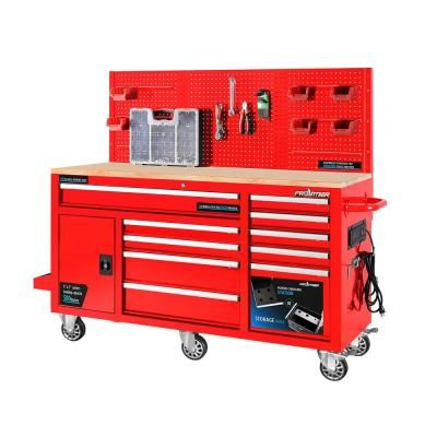 Husky 72 In W X 24 In D 15 Drawer Mobile Workbench With