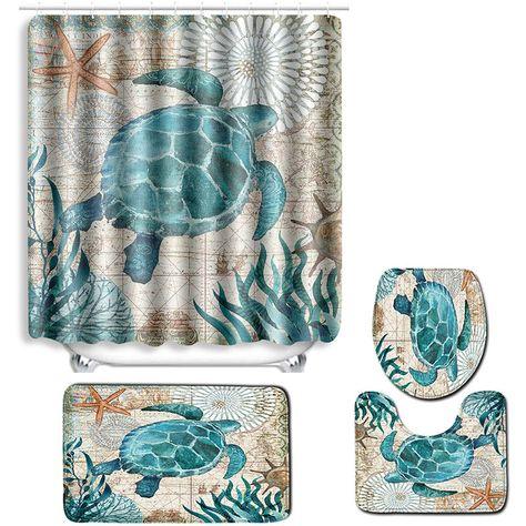 Rideau De Douche Tapis Sur Pied Tapis De Couverture De Toilette Tapis De Bain Antiderapant 4pcs Asupermall In 2020 Shower Curtains Prints