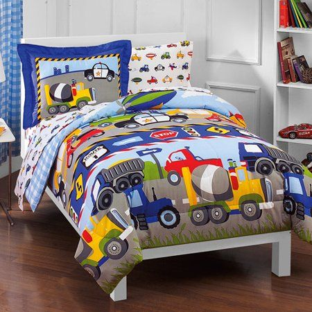 Dream Factory Trains And Trucks 5 7 Piece Comforter Set Walmart Com Cars Bed Set Kids Bedding Sets Twin Bed Sets