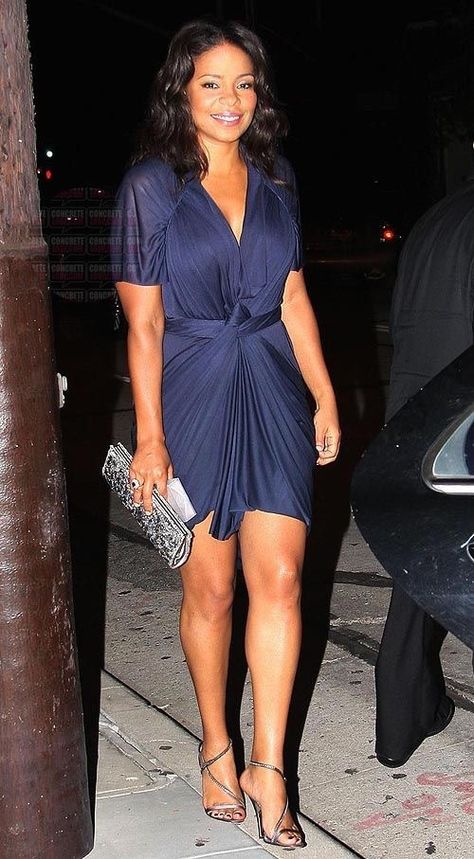 Sanaa Lathan in a beautiful blue wrap dress