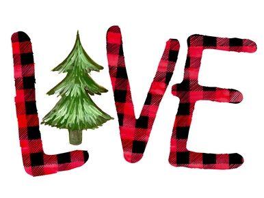 Love Christmas Tree Plaid Shirt Digital Watercolor Sublimation Png Cute Christmas Wallpaper Disney Diy Crafts Christmas Crafts