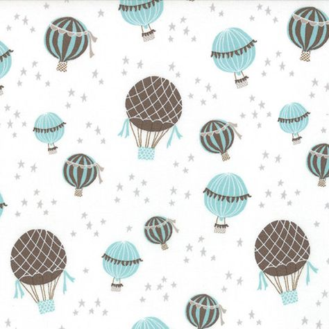 Quilt fabric - 43/44 wide  Moda Story Book 13114 Aqua Hot Air Balloons, Brushed Cotton  Kate & Birdie  100% cotton.    Soft brushed cotton