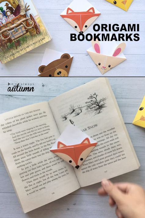 Cute corner bookmarks that kids can make! These come in seven different adorable woodland animal designs. Click through to the blog post to download the printable templates. #bookmark #origami