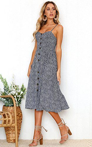 Womens Dresses Floral Bohemian Spaghetti Strap Button Down Swing Midi Dress with Pockets Striped Dresses for Women