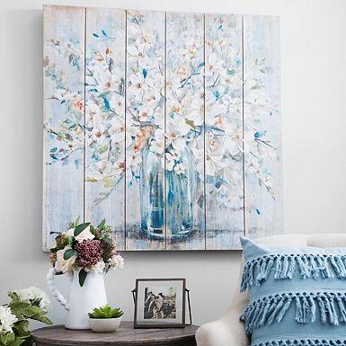 White And Blue Soft Floral Slatted Wood Art Print Blue Wall Decor Wood Wall Decor Wood Art
