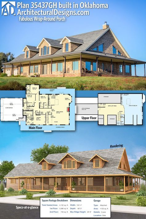 Plan 35437gh Fabulous Wrap Around Porch Architectural Design House Plans Brick Exterior House New House Plans