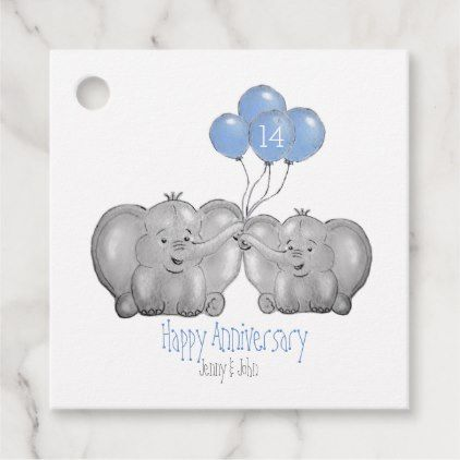14th Ivory Wedding Anniversary Elephant Gift Favor Tags Zazzle Com Elephant Gifts Anniversary Party Favors Wedding Anniversary