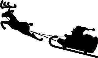 サンタとトナカイのシルエット サンタクロース トナカイ クリスマス シルエット クリスマス トナカイ イラスト