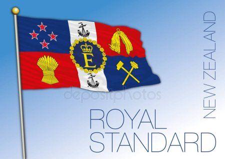 New Zealand Official Royal Standard Flag Of The Queeen Elizabeth Ii Vector Illustration