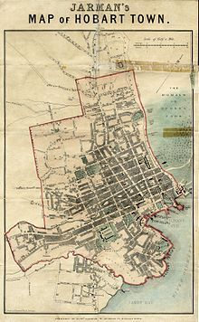 Map of Hobart Town circa 1850 showing Hunters Street and Hunters
