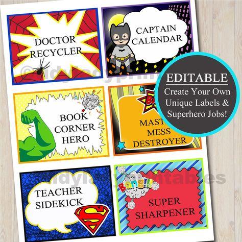 Superhero Classroom Job Labels,  Comic Book Labels, Superhero Favor Tags, , SuperHero Students, Super Hero Party