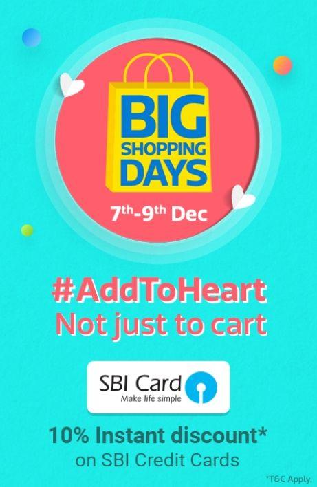 Flipkart Big Shopping Days (7 9 Dec) 80% + SBI 10% Off