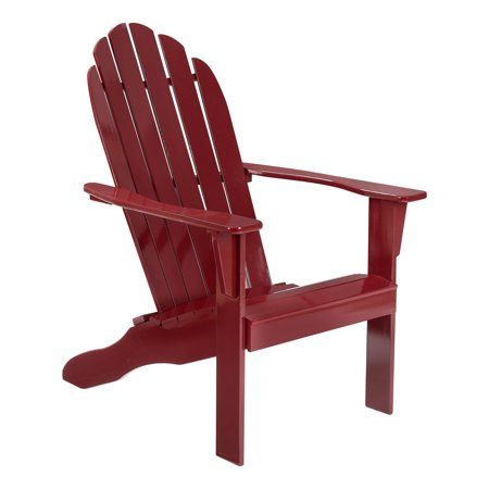 Mainstays Wooden Outdoor Adirondack Chair Red Finish Solid Hardwood Walmart Com In 2020 Adirondack Chair Wood Adirondack Chairs Outdoor Wood