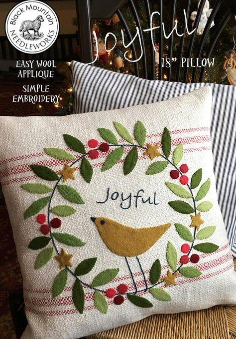 Applique Pillows, Wool Applique Patterns, Sewing Pillows, Wool Pillows, Applique Ideas, Felt Patterns, Pillow Patterns, Sewing Appliques, Dress Patterns