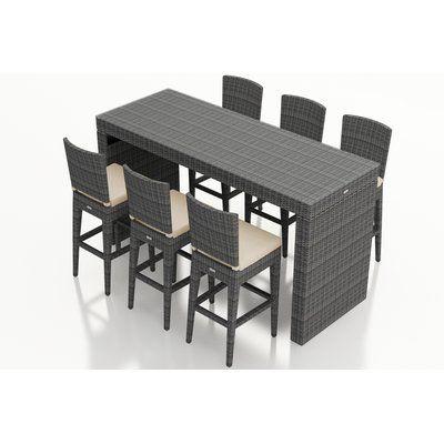 Rosecliff Heights Hobbs 7 Piece Sunbrella Bar Height Dining Set With Cushion Patio Bar Set Modern Outdoor Dining Bar Table Sets