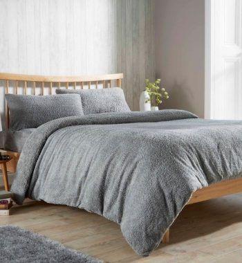 Olivia Rocco Teddy Fleece Duvets Grey Silver Duvet Cover Sets Duvet Covers Duvet Sets