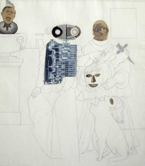 Edward Burra, Keep Your Head, collage and pencil, 1930
