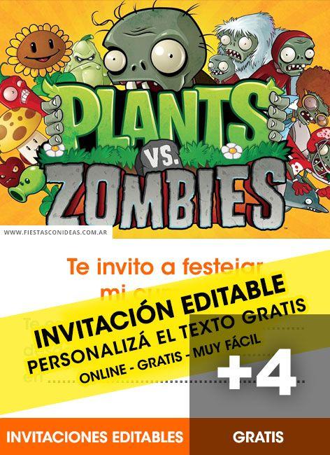 4 Tarjetas De Cumpleanos De Plants Vs Zombies Gratis Para Editar
