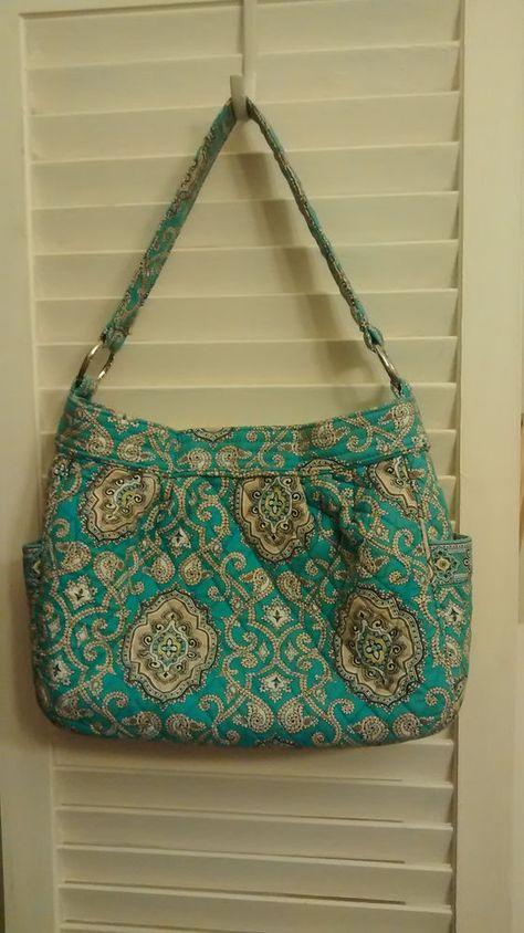Vera Bradley Reversible Tote, Shoulder Bag, Purse, Handbag in Totally Turquoise #VeraBradley #Hobo