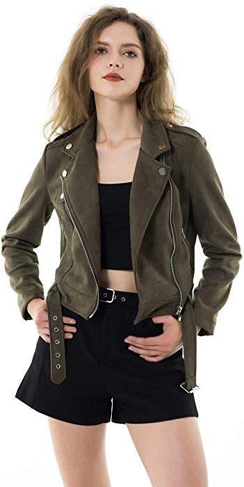 Apperloth Jackets for Women Slim Faux Leather Moto Biker Zipper Short Coat