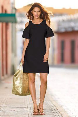 51987a6898 Travel flutter cold-shoulder dress from Boston Proper