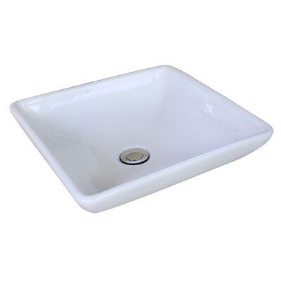 American Imaginations Ceramic Square Vessel Bathroom Sink Sink