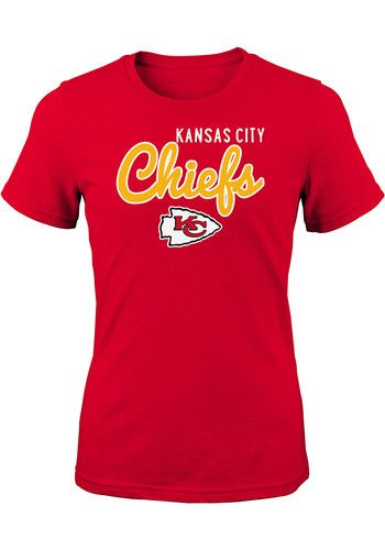 Kansas City Chiefs Girls Red Big Game Short Sleeve Tee 13347068