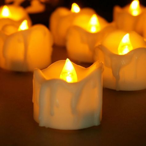 10 x Flickering Flameless LED Candle Lights with Timer For Wedding Banquet Party