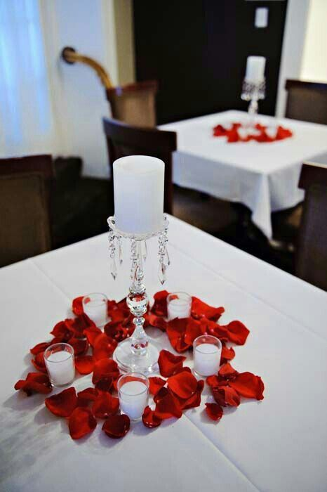 Red Rose Petal Centerpiece Wedding Reception Table White