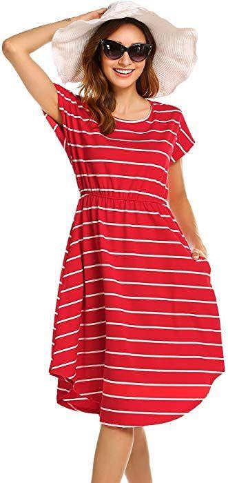 Halife Womens Summer Casual Stripe Elastic Waist Loose Beach Midi Dress