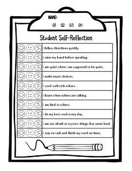 Parent Conference Student Self Reflection Evaluation Form