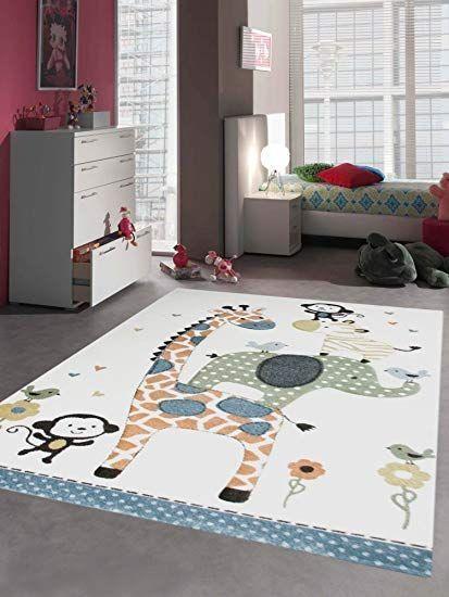 Carpetia Teppich Kinderzimmer Babyzimmer Zootiere Affe Giraffe
