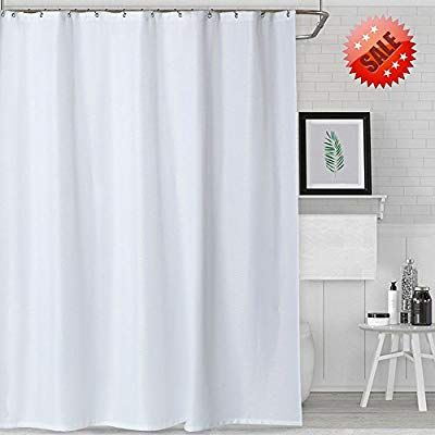 Waffle Weave Fabric Shower Curtain Water Repellent with Rust Proof Metal Grommet