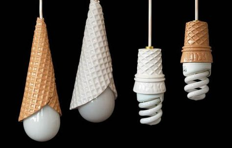 Now that you mention it, those energy efficient light bulbs do kinda look like soft serve ice cream. It's not just because we have a sweet tooth; in one of these sugar cone lights from Mixko, even a regular round bulb looks like a scoop of ice cream. These sweet light fixtures really light up our imaginations for possible uses like a candy themed kids room or a quaint kitchen with those cute wrought iron ice cream parlor table sets. $54