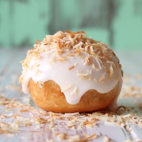 Deliciousness is this toasted coconut and custard-filled donut.