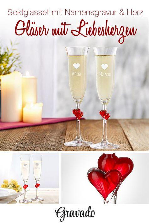 Sektglaser Mit Herzen Im Stiel Motiv Herzchen Personalisiert